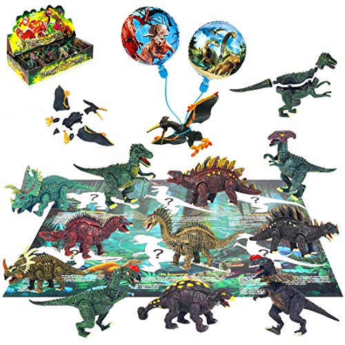 Dinosaur Toys Figures playset 12pcs Activity buildable Dinosaur Set with Balloon aducation Book playmat,Preschool Learning Gift for Kids 3 4 5 6 Year Old Boys Girls