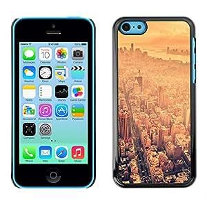 Qstar Arte & diseño plástico duro Fundas Cover Cubre Hard Case Cover para Apple iPhone 5C ( Skyline Summer Heat Hot Nyc New York)