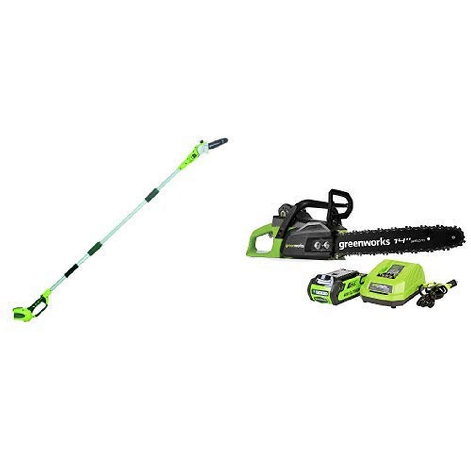 Greenworks 8 40V Cordless Pole Saw 2.0 AH Battery Included CS40L210 Battery Not Included 20302 with  14-Inch 40V Cordless Chainsaw