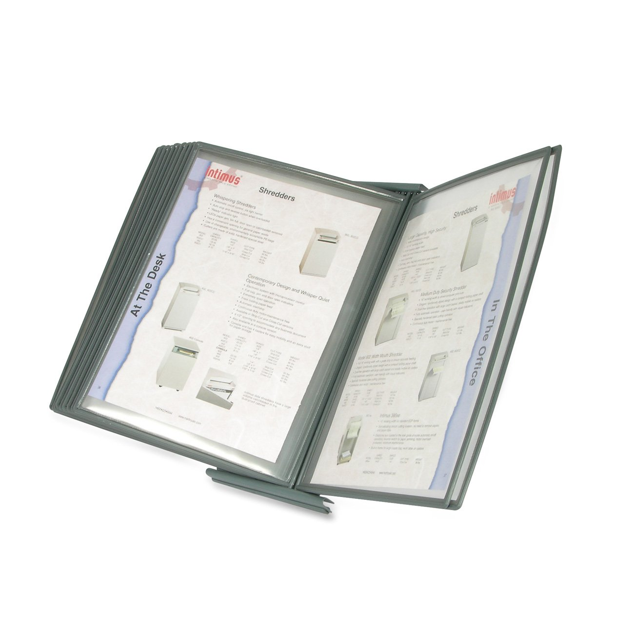 Martin Yale MVSM10 MasterView Executive Desktop Stand, 10 Sleeves Display up To 20 Documents at a Time, Sleeves Hold 8 1/2'' x 11'' and A-4 Size Paper