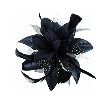 Amazon.com   Black Flower and Spotted Net Bridal Hair Comb Fascinator    Beauty c5651580145