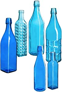 Evergreen Garden Beautiful Summer Blue Glass Decorative Bottles, Set of 6-18 x 15 x 5 Inches Fade and Weather Resistant Outdoor Decoration for Homes, Yards and Gardens