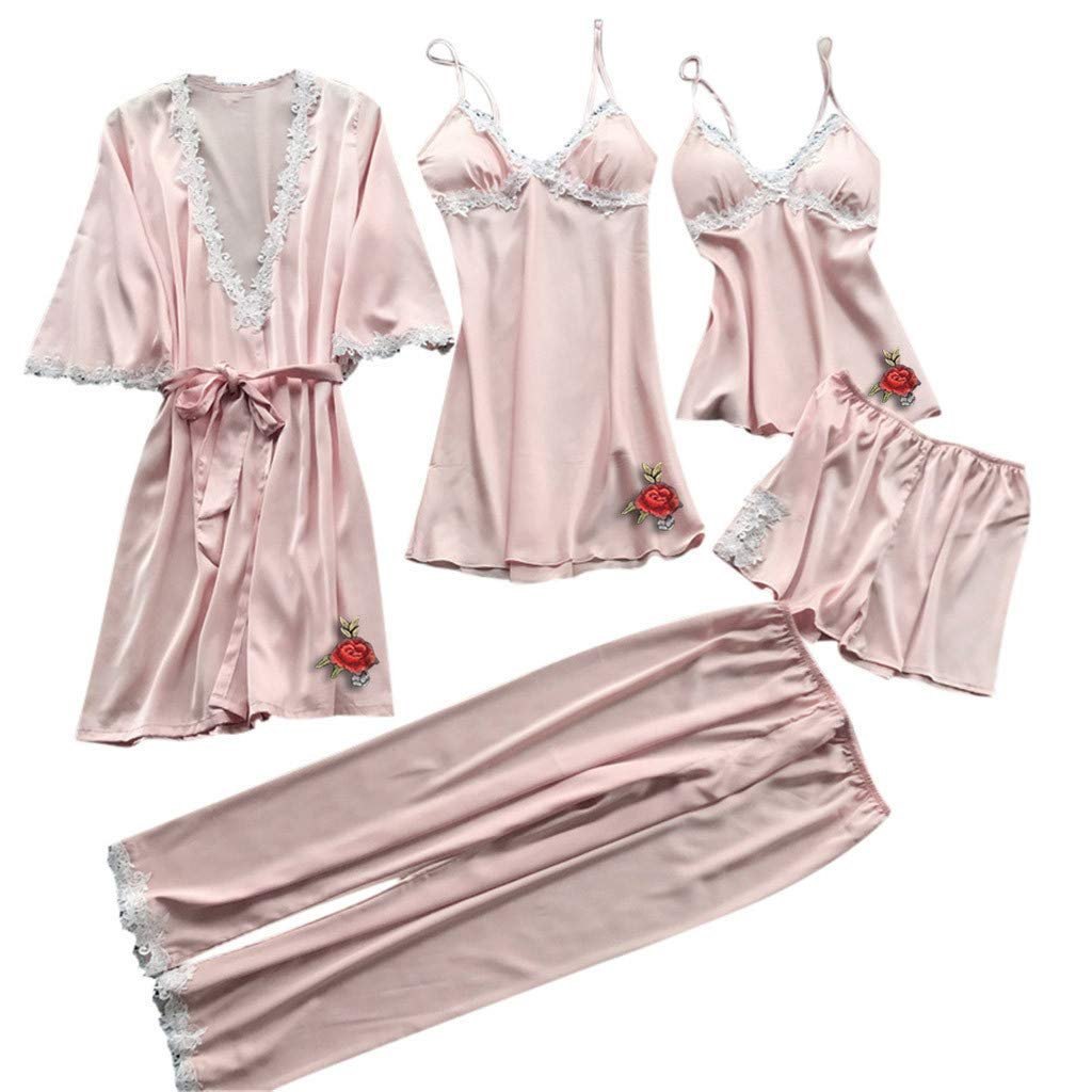 Coupondeal Women Sexy Lace Lingerie Nightwear Underwear Babydoll Sleepwear Dress 5PC Suit (x Pink,M=Bust: 72-84cm/28.3-33.1'') by Coupondeal