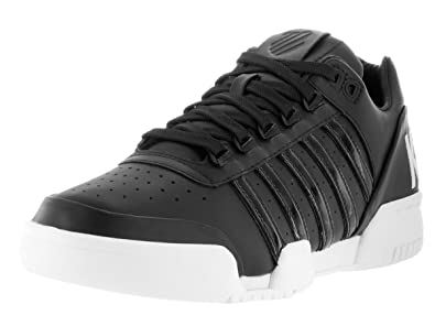 74a32469fb1ee K-Swiss Men's Gstaad Big Logo Black and White Leather Casual Shoes