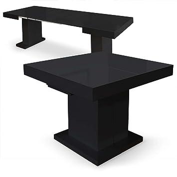 Menzzo LaquéNoir100x90x75 MustangMdf Table Extensible Cm D2e9IYWEH