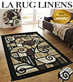 Colorful Dark Brown Beige White Black Green Modern Contemporary Abstract Designer Hand Tufted 5×7 Bedroom Living Room Rug Throw .5 Inch Thin Pile Height ( Royal 2146A Chocolate Green