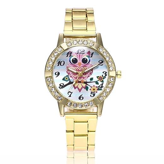 Relojes de Mujer Dorado 2018 Pulsera Redondo Lindo Cuarzo Análogo de Banda de Aleación de Manera Buho por ESAILQ: Amazon.es: Relojes