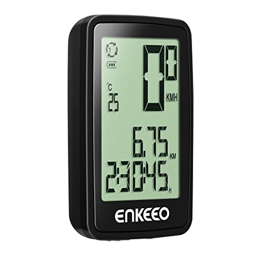 ENKEEO Wireless Bike Computer, USB Rechargeable with 12 Hour Backlight Display, Current/AVG/MAX Speed Tracking Speedometer, Trip Time/Distance Recording Odometer for Cycling
