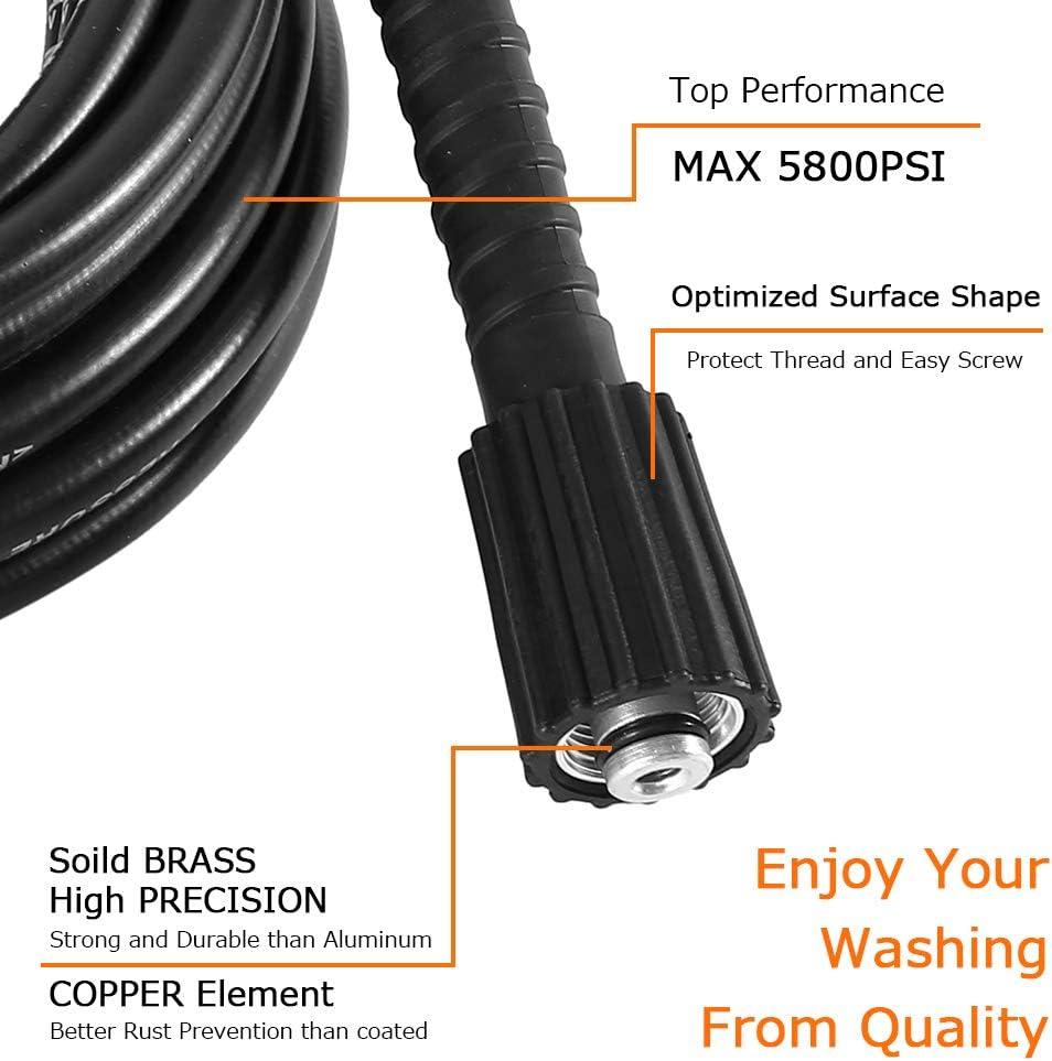 Littleduck 5M High Pressure Hose Power Washer Jet Wash Cleaning Extension Hose M22 /& M22 Thread Female Connector for Karcher K2 K3 K4 K5