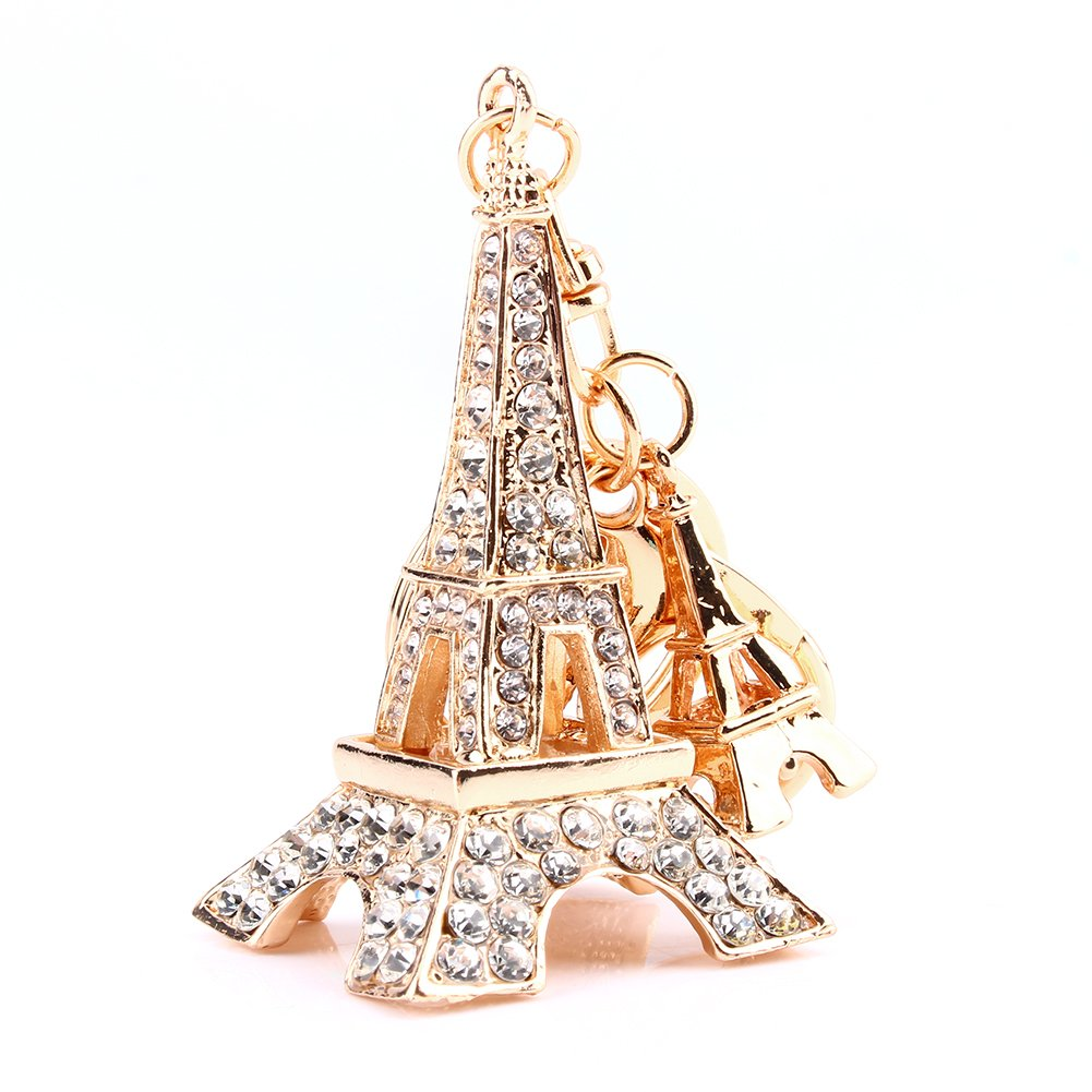 Delaman Eiffel Tower Keychain 3D Handmade Bling Crystal French Souvenir Paris Adornment Keyring for Purse Bag