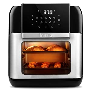 Innsky Air Fryer Oven, 10.6QT 1500W Electric Air Fryer with LED Digital Touchscreen 10-in-1 Countertop Oven with Dehydrator & Rotisserie, 6 Accessories & 32 Recipes & 2 Years Warranty