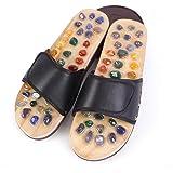 SHANGLY Massage Pair Hausschuhe Schuhe Natürlicher Achat Massagesohle Haushalt Fußakupunktur Sandalen,Black,39