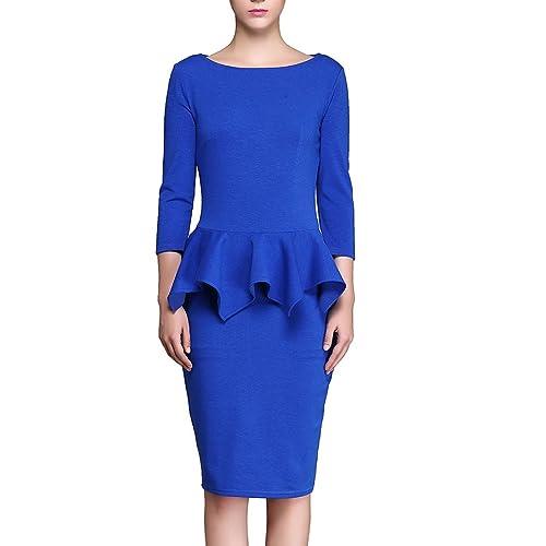 KAXIDY Vestiti Donna Manica Corta Casual Cocktail Vestito Vestiti Blu Eleganti
