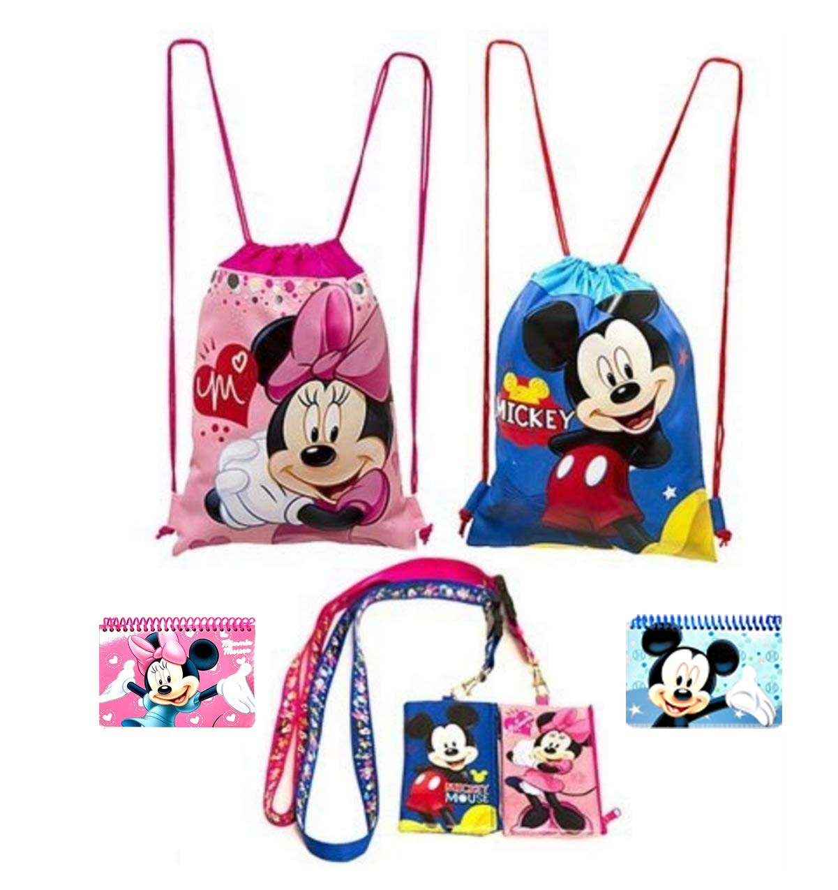 Disney Mickey and Minnie Mouse Drawstring Backpacks Plus Lanyards with Detachable Coin Purse and Autograph Books (Set of 6)