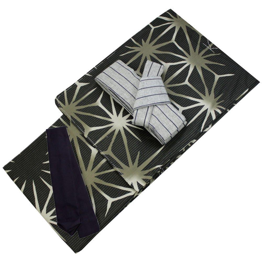 Mens Cotton Linen Yukata 3item set Summer Kimono Black M size One touch Obi