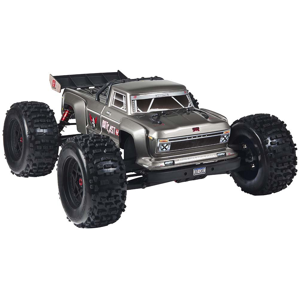 ARRMA OUTCAST 1:8 Scale BLX Brushless 4WD RTR Electric RC Stunt Truck (6S LiPo Battery Required), Silver