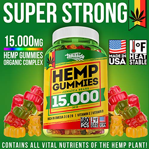 61azVdhvhQL - Hemp Gummies 15000 MG - Made in USA - 180 MG Hemp in Each Gummy - Premium Hemp Extract - CO2 Extraction - Omega 3, 6, 9 - Anxiety & Stress Relief - Sleep & Mood Improvement