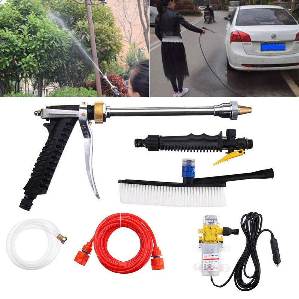 WUPYI Professional Car Wash Kit,100W 160PSI 12V High Pressure Car Washer Cleaner Water Gun Car Electric Washer Pump Sprayer Tools Kits (5pcs Car Wash Kit)