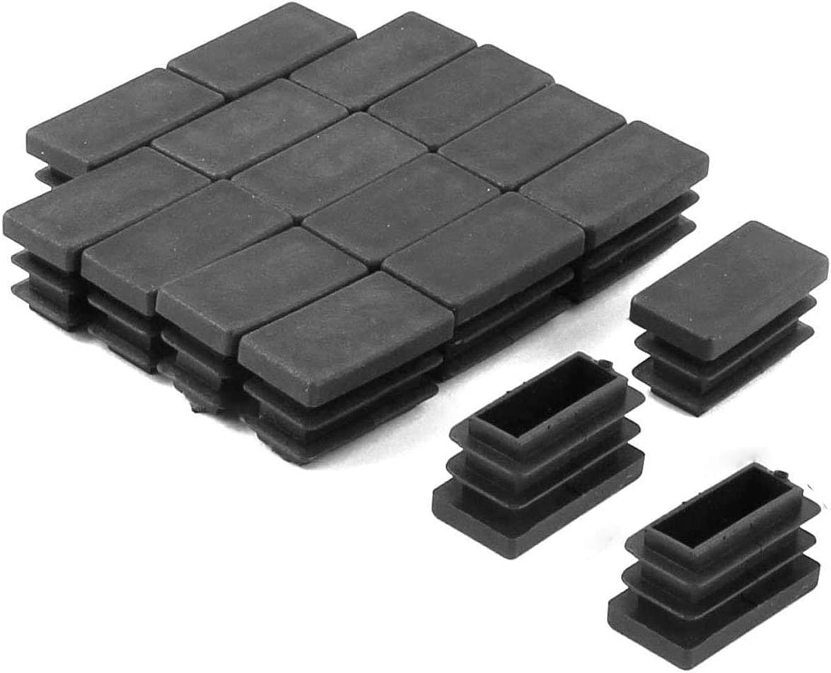 Antrader Furniture Foot Table Chair Legs Blanking End Plastic Rectangle Tube Inserts Threaded End Blanking Caps Protector Black Set of 50 (26 x 13mm)