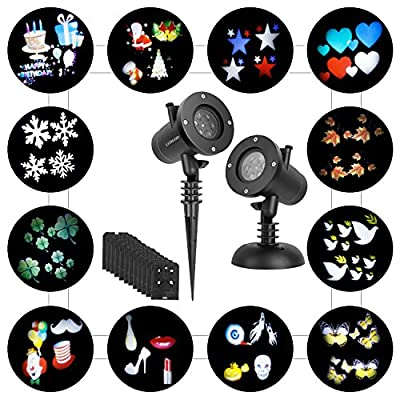 LEDGOO Holiday Light, Rotation Snowflake Star Spotlight Wall Decoration Lights with 12 PCS Switchable Patterns for Holiday Decorations, Christmas and Halloween, Wedding, Birthday