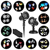 LEDGOO Holiday Light, Rotation Snowflake Star Spotlight Wall Decoration Lights with 12 PCS Switchable Patterns for Christmas and Halloween, Wedding, Birthday Decorations