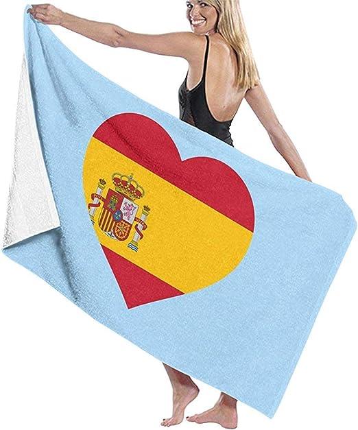 Yocmre Toalla de baño España Bandera en Signo de corazón Toalla de Playa para baño Viaje Playa Nadar: Amazon.es: Hogar