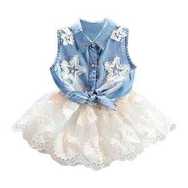 9580c56ba Felicy Baby Girls Summer Dresses, Toddler Baby Girls Stars Pearls Printed  Sleeveless Denim Bowknot Vest