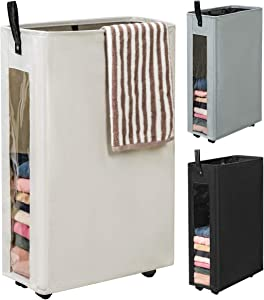 WOWLIVE 27 inches Slim Rolling Laundry Hamper with Wheels Tall Thin Laundry Basket with Clear Window Handy Collapsible Clothes Hamper Mesh Cover Rectangular Storage Corner Bin(Beige)
