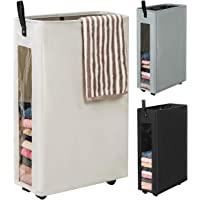 WOWLIVE 27 inches Slim Rolling Laundry Hamper with Wheels Tall Thin Laundry Basket with Clear Window Handy Collapsible…