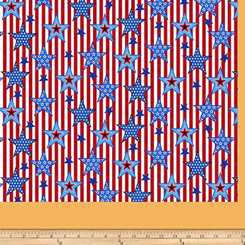Studio E Fabrics America: Land Of The Free Striped Stars Red Fabric Fabric by the Yard ()