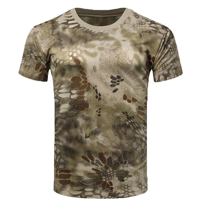 Hombre Verano Camo T Shirts Malla Tácticas Militar Training Aire Libre Manga Corta Transpirables Secado Rápido Camisetas Top: Amazon.es: Ropa y accesorios