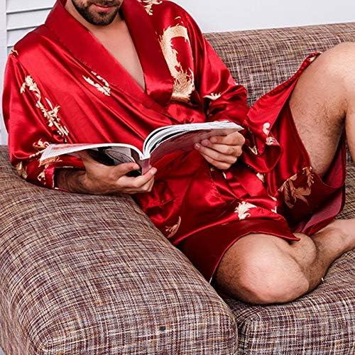パジャマ CHJMJP メンズステインシルクパジャマセットメンズパジャマ男性セクシーソフトオムコージーサテンのナイトガウンカジュアルラウンジ (Color : C, Size : XXXL)