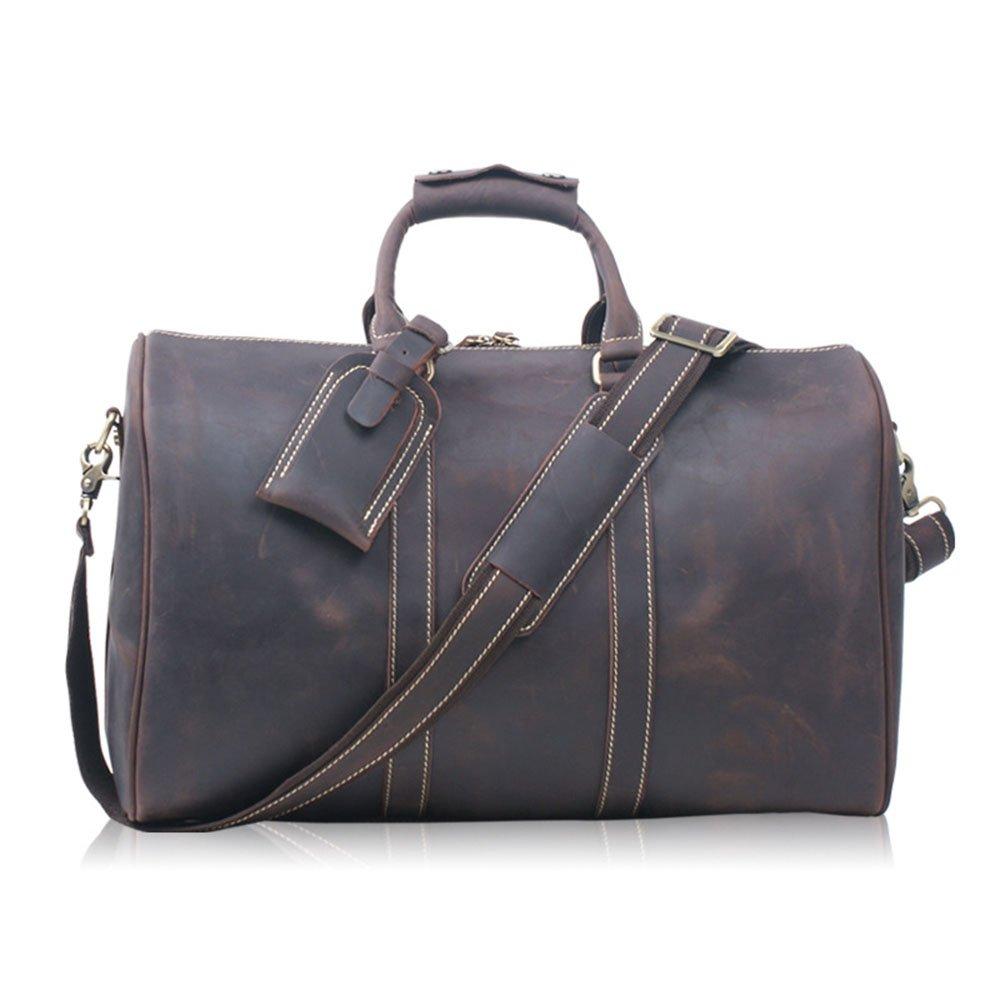 旅行バッグ スタイリッシュシンプルレザーハンドバッグハンドバッグレザー大容量ビジネストラベルバッグラゲッジバッグビジネスコンピュータバッグ スポーツバッグ トラベルバッグ (色 : 褐色)  褐色 B07P9WLNXX