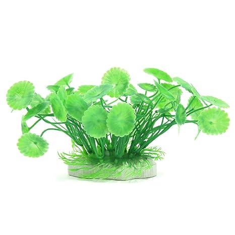 uxcell Aqua Paisaje Acuario Decoración Plástico Planta Peces, pequeño, Verde