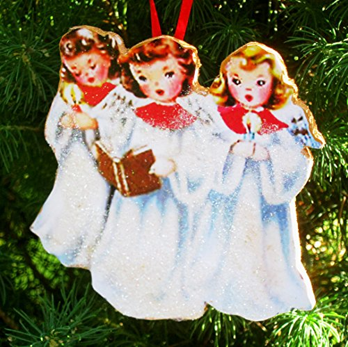Singing Angel Trio Ornament Handcrafted Wooden Christmas Decor, Mid-Century Modern 1950s Card Personalized Friends Sisters Angel Wings - Angel Trio