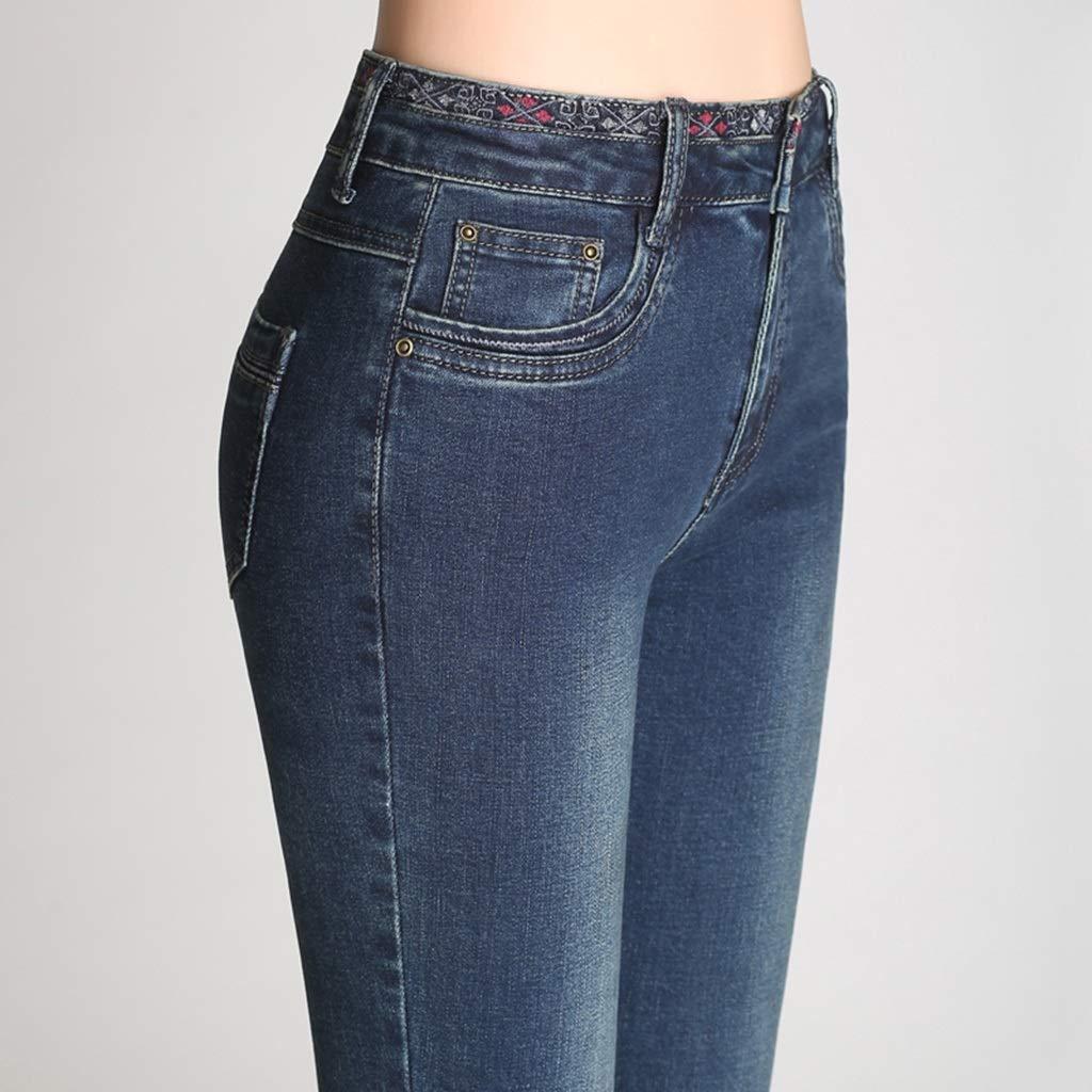 Nuevo Pantalones vaqueros elásticos Cintura alta femenina ...