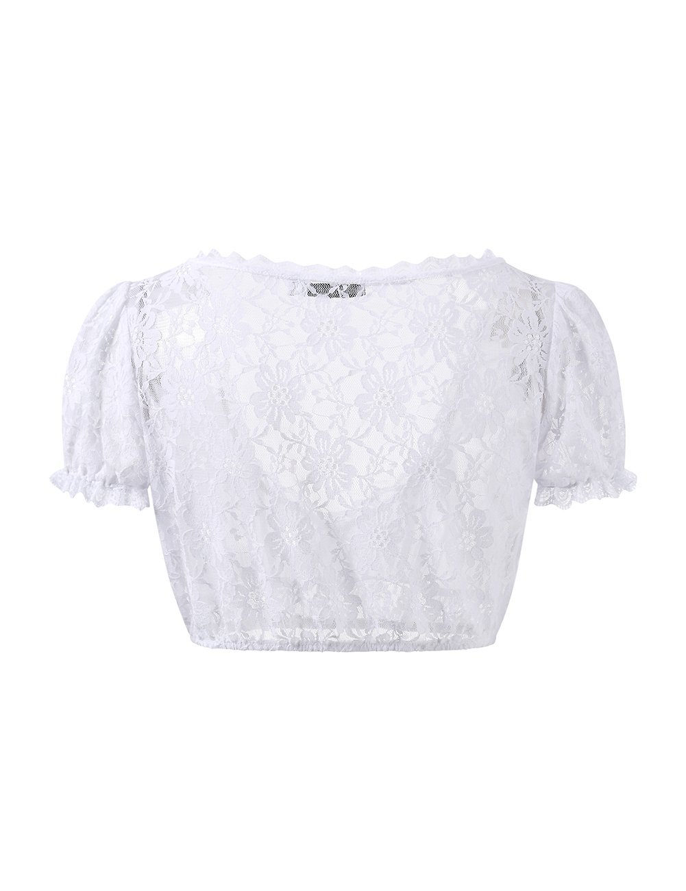 Leoie Women's Beer Festival Sexy See-Through Dirndl Solid Lace Chiffon Splicing Stylish Dirndl Top by Leoie (Image #4)