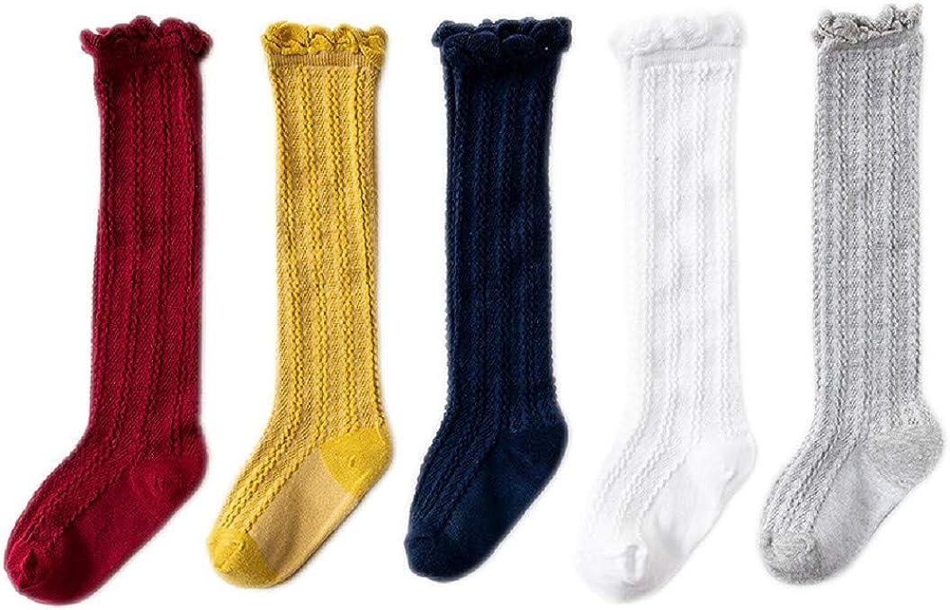 Calcetines Princesa Rodilla para ni/ñas 5 pares Calcetines a rayas de ni/ñas AMEIDD Calcetines para beb/és ni/ñas de 0-4 a/ños Calcetines largos lindos del beb/é