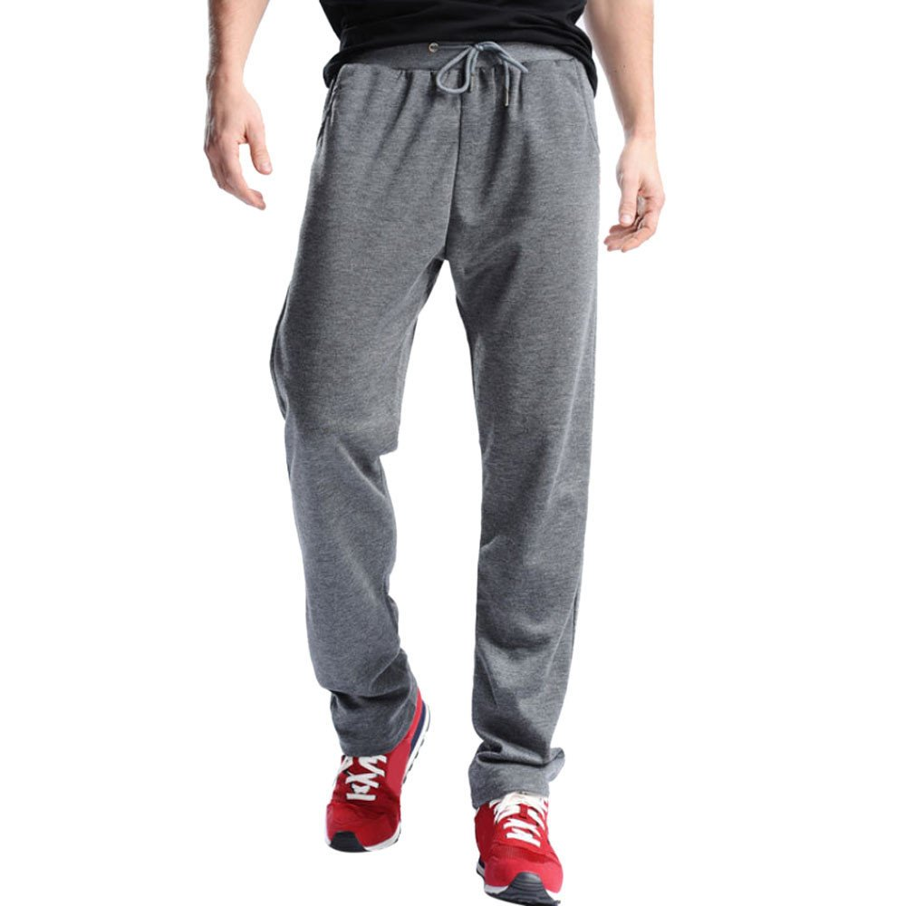 Hunzed Men【Cotton Loose Sweatpants】Men's Joggers Open Bottom Light Weight Jersey Pants (2XL, Dark Gray)