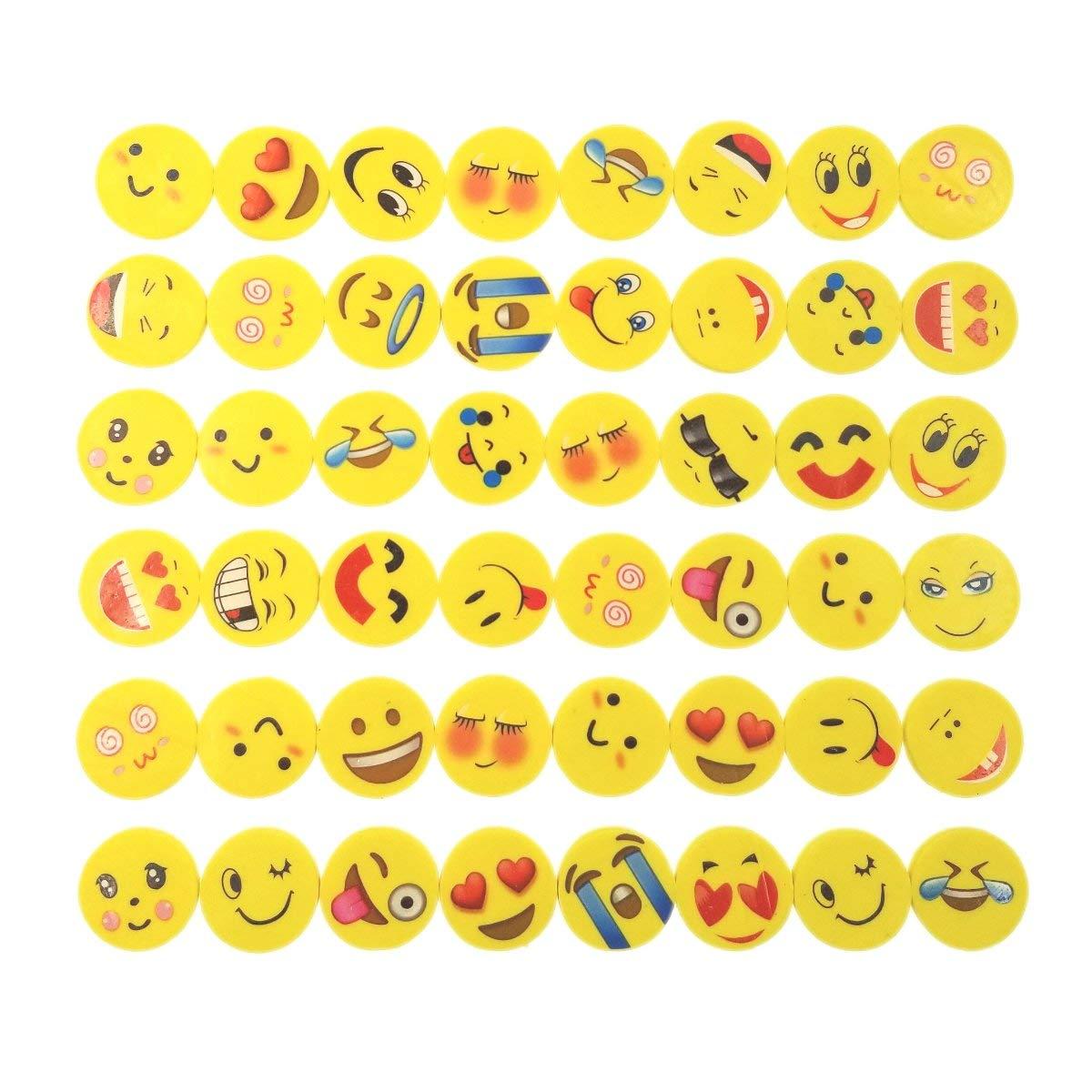 JZK Set von 48 Stücke Emoji Kinder Radiergummi Smiley Radierer ...