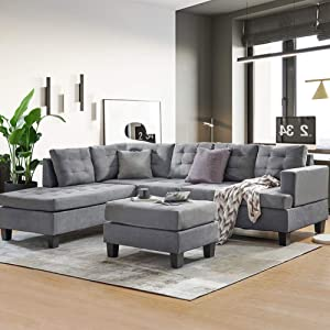 DKLGG Sectional Sofa Couch Modern L Shape Sleeper Couches with Reversible Chaise & Ottoman and Storage Ottoman for Living Room