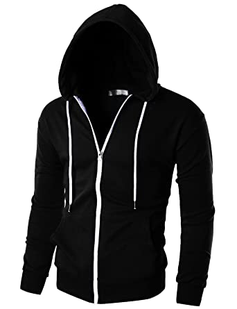 Ohoo Mens Slim Fit Long Sleeve Lightweight Zip-up Hoodie With ...