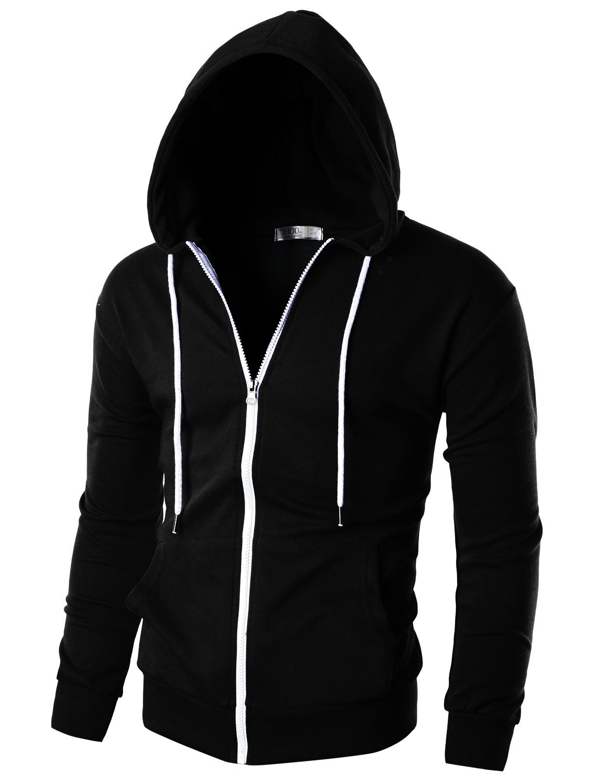 Ohoo Mens Slim Fit Long Sleeve Lightweight Zip-up Hoodie with Kanga Pocket/DCF002-BLACK-M