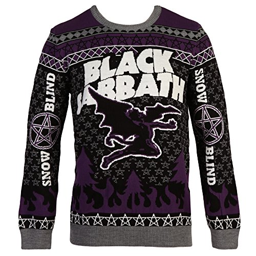 black sabbath flying demon ugly christmas adult sweater x large amazonca clothing accessories - Black Christmas Sweater