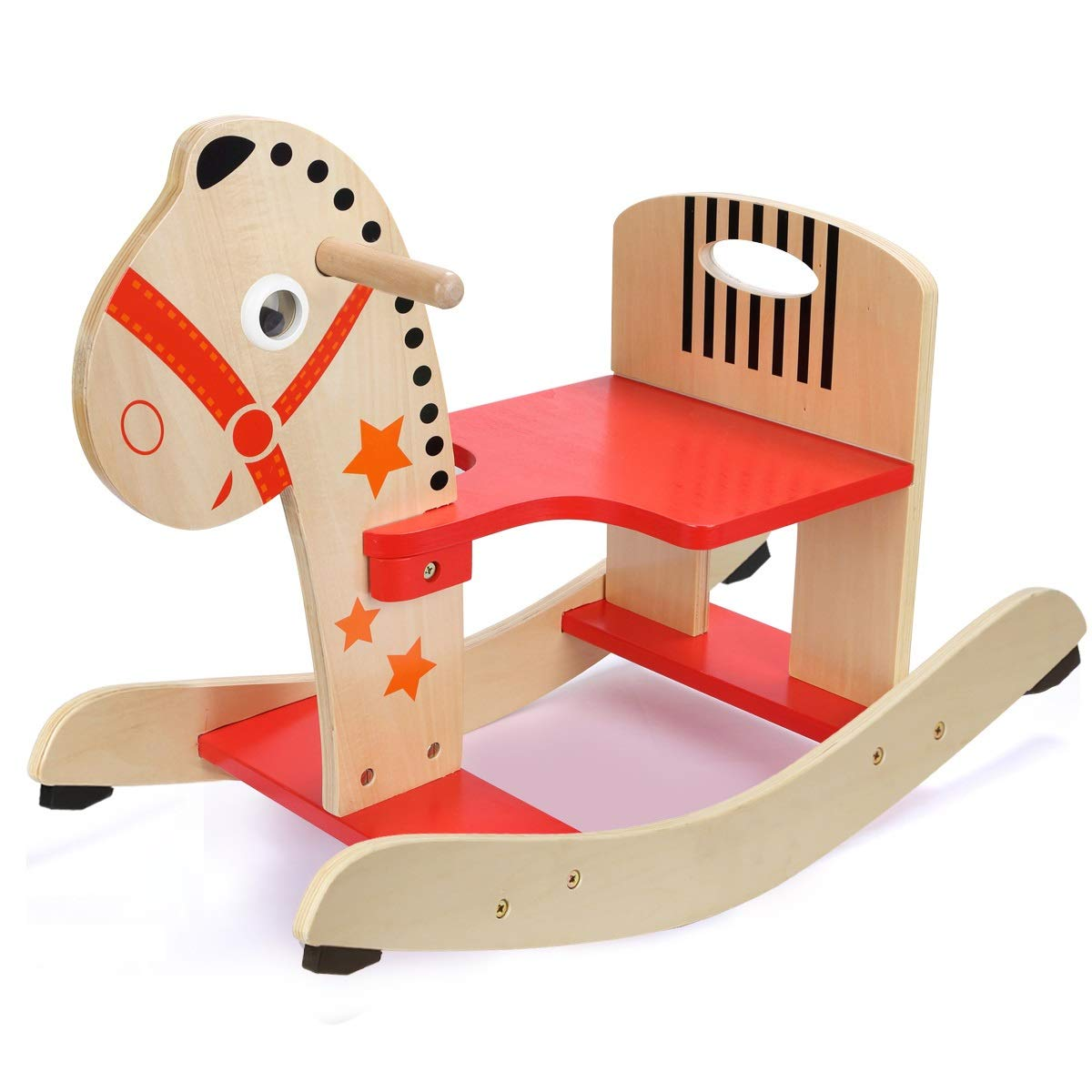 YULAN Small Trojan Child Shake Horse 1 Year Old Gift Baby Wooden Rocking Chair Baby Indoor Toy