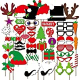 (Set of 50)Merry Christmas Photo Booth Props, DIY Party Favors & Supplies, New Year's Eve Decorations Art Crafts