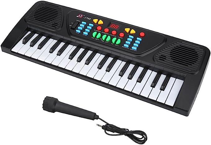 Vgbey 37 Teclas Teclado Electrónico Multifuncional Mini Piano Con Diseño Compacto Sonidos Y Ritmos Múltiples Juguete Educativo Musical Con Mini Micrófono Ideal Para Niños Amazon Es Deportes Y Aire Libre