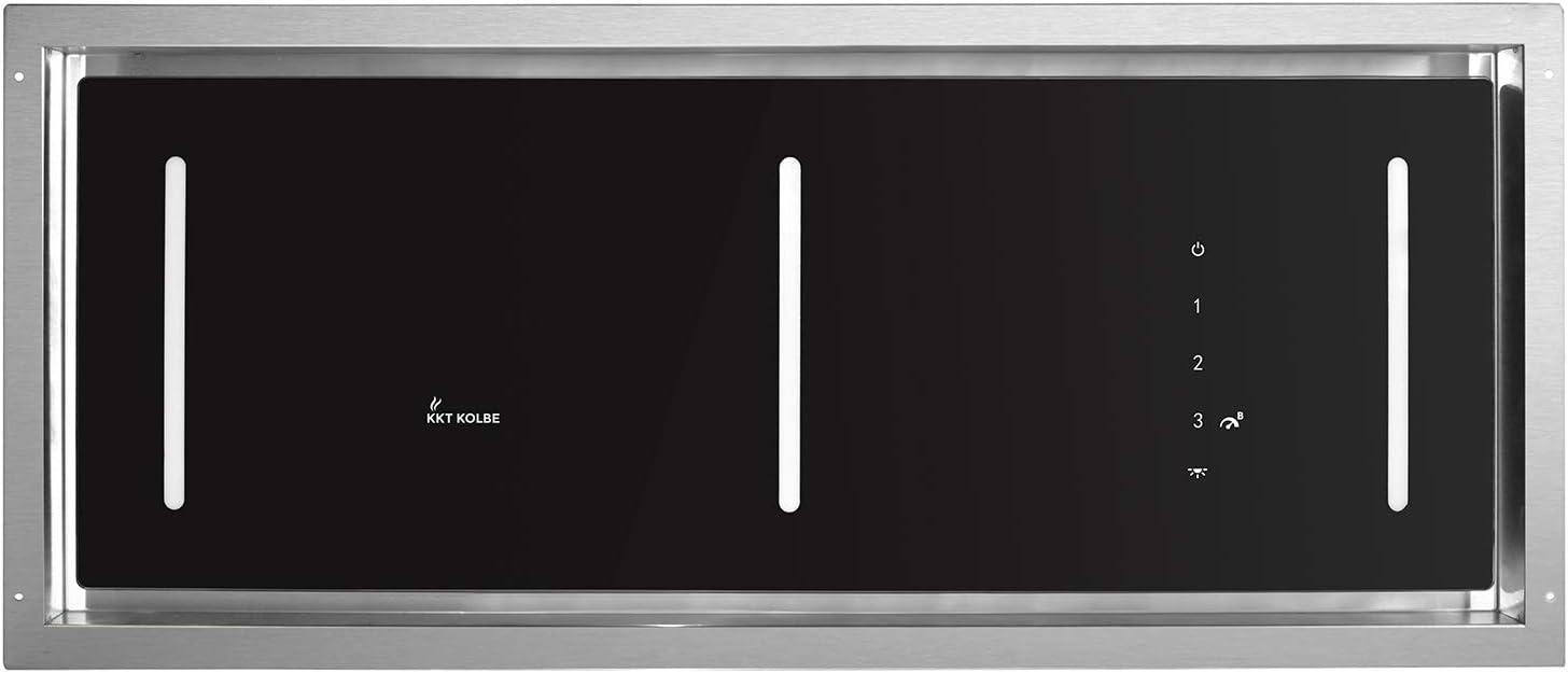 Campana extractora de techo, módulo de ventilador (90 cm, acero inoxidable, 4 escalones, cristal negro, iluminación LED, control SensorTouch, aire de escape o aire circulante) INTEGRA606 - KKT KOLBE