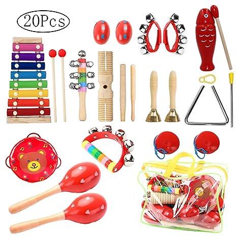 Juguetes de Instrumentos Musicales para Niños, 20 piezas Juguetes Musicales de Percusion para Bebes,