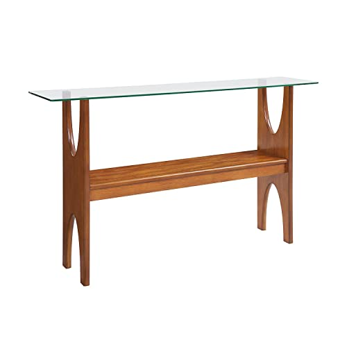 Midcentury Modern Table – Wood Glass Console Table – Scandinavian Inspired Design